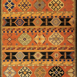 C.G. Sparks - Kazak 3 Hand-Woven Wool Rug (6'x9') - The ornate, geometric-inspired Kazak designs featured in these tightly-hand-woven Soumak rugs trace their origins back several centuries to ancient folk art of Caucasus region near the Caspian Sea. The use of these designs has decreased significantly during the last couple centuries, giving these modern adaptations, woven in rich tones consistent with their predecessors, a will-be-heirloom character. Due to the hand-woven construction process of these fine woolen rugs, slight variations in size may occur.