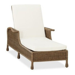 "Saybrook All-Weather Wicker Single Chaise with Cushion Set - Recalling the style of a woven beach hut, our chaise brings together the beauty of wicker with the durability of a synthetic. We've finished it with artful details like wide paddle arms and woven egg feet, then topped it with a thick cushion for superb comfort. Click to read an article on {{link path='pages/popups/saybrook-care_popup.html' class='popup' width='640' height='700'}}recommended care{{/link}}. 35"" wide x 84"" long x 23-41.5"" high Crafted from a durable synthetic that replicates the look and feel of wicker, but is impervious to sun, rain, heat and cold. Adjusts to six positions. Includes a quick-drying seat and back cushion with a water-repellent polyester canvas slipcover in Natural; imported. Get a colorful update with additional slipcovers (sold separately) in water-repellent, ring-spun polyester canvas, or fade and stain-resistant Sunbrella(R) fabric; imported. Sunbrella(R) cushions and slipcovers are special order items which receive delivery in 34 weeks. Please click on the shipping tab for shipping and return information. Machine wash cushion cover. View our {{link path='pages/popups/fb-outdoor.html' class='popup' width='480' height='300'}}Furniture Brochure{{/link}}."