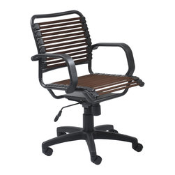 Eurostyle - Bungie Flat Mid Back Office Chair-Brown/Graphite Black - Extra strong flat bungie cords