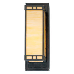 Progress Lighting - P7138-46EB Arts and Crafts One Light Wall Sconce Weathered Bronze - Single-light wall sconce with light honey art glass. 120/277V HPF electric ballast.