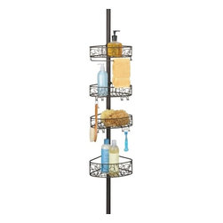 Tension Pole Shower Caddy - Bronze - This four tier Bronze Tension Pole Shower Caddy is a great solution for showers with limited or no built in shelving or storage. The shower caddy pole extends from 5 feet up to 9 feet high to fit your shower perfectly. The durable bronze metal is rust resistant and the attractive wire design on the baskets adds a touch of elegance to your shower. With four baskets, you'll have plenty of room for your soaps, body wash, and shampoo and conditioner. The top basket features a towel bar for wash cloths and the two middle baskets feature hooks and razor holders ideal for hanging loofahs, razors and other hanging shower products.