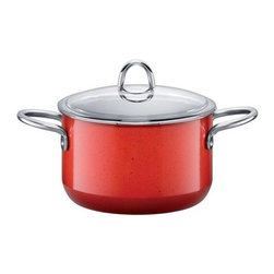 Silit - Passion Colors High Casserole w/Lid, Energy Red, 4 Qt. - -Extra-sturdy, drawn-in-one-piece steel core.