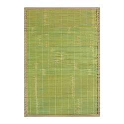 """Anji Mountain - Bamboo Rugs Key West Rug - Bamboo rugs have been a traditional floor covering in the Far East for centuries. They add a touch of organic, practical elegance to any space. Our bamboo rugs are made of the finest quality, sustainably harvested bamboo in the world and offer supreme durability. Features: -100% Moso bamboo harvested in its native habitat in the Anji Mountains of China.-Mitered polypropylene borders provide resilience and clean design.-Eco-friendly, non-skid rug pad backing is ventilated and provides excellent cushioning while extending the life of your rug.-Rustic, narrow bamboo slats in lime green with tan border.-Spot clean with a damp cloth and water; recommended for indoor use.-Natural fading will occur in direct sunlight.-Kiln-dried bamboo is machine-planed and sanded for a smooth finish.-Distressed: No.-Collection: Bamboo Rugs.-Construction: Machine woven.-Technique: Machine woven.-Primary Pattern: Solid.-Primary Color: Green.-Border Material: Polypropylene.-Border Color: Tan.-Type of Backing: Eco-soy non-slip rug pad.-Material: 100% Bamboo.-Fringe: No.-Reversible: No.-Water Repellent: Yes.-Mildew Resistant: No.-Stain Resistant: No.-Fade Resistant: No.-Swatch Available: No.-Eco-Friendly: Yes.-Outdoor Use: No.-Product Care: Clean surface with a damp, clean cloth. Spot-clean borders with mild dish soap and water solution. Plastic or felt casters are recommended for chair or furniture legs to protect against scratching and cracking of bamboo slats..Specifications: -CRI certified: No.-Goodweave certified: No.Dimensions: -Pile Height: 0.2"""".-Overall Product Weight (Rug Size: 2' x 3'): 3 lbs.-Overall Product Weight (Rug Size: 4' x 6'): 9 lbs.-Overall Product Weight (Rug Size: 5' x 8'): 15 lbs.-Overall Product Weight (Rug Size: 6' x 9'): 23 lbs."""