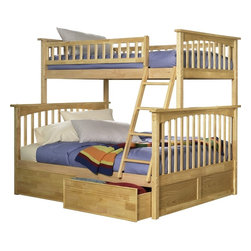 Columbia Bunk Bed Twin over Full / Flat Panel Drawers / Natural Maple - Features: