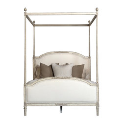 Eloquence - Dauphine French Country Weathered White Linen Upholstered Bed - Canopy Queen - Add a touch of whimsy to your bedroom with this four-poster bed that invites humble comparisons to sophisticated French living. An inviting centerpiece to any bedroom that begs to be jumped upon and rolled around on.