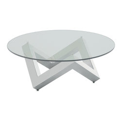 """Nuevo Living - Como Coffee Table Stainless Steel by Nuevo - HGTA523 - The Como Coffee Table by Nuevo is made from high polished stainless steel 1/2"""" tempered glass top.  The triple triangle base  is simple and fascinating to look at from any angle   At 42"""" in diameter the Como Modern Coffee Table is a good size for home or office.  The Como occasional table is a great example of modern furniture to add a contemporary touch to your space."""