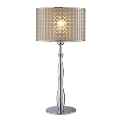 Lite Source - Optiska Table Lamp in Chrome Finish w Optic Vinyl Shade - Incandescent bulb sold separately. UL approved. 1-Year warranty. Bulb type/watt: A/100. Shade dimension: 12 in. L x 12 in. W x 8 in. H. Lamp dimension: 12 in. W x 25 in. H (10.8 lbs.). Product Installation Instructions