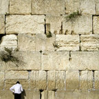 Wallmonkeys Wall Decals - Man Praying Next to the Wailing Wall Wall Mural - 72 Inches H - Easy to apply - simply peel and stick!