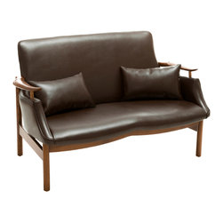 Great Deal Furniture - Braselton Leather Wood Frame Loveseat - The Braselton Wood Frame Loveseat is a great addition to any room in your home. This mid-century inspired design combines the bonded leather and natural ash wood frame to create a unique sleek look. This piece demonstrates attention to detail with its shape and form to enhance any space it is placed in.