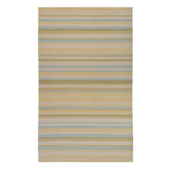 None - Hand-hooked Bliss Pale Yellow/Sage Indoor/Outdoor Stripe Rug (3' x 5') - This outdoor rug features a looped texture and medium pile. Shades of yellow, off white, sage, yellow-green and light blue accent this striped rug.