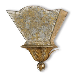 Gold and Silver Leaf Wall Sconce