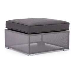 Zuo - Clearwater Bay Outdoor Ottoman - The Clearwater Bay Outdoor Collection is sleek and sophisticated with its clean lines and sexy silhouettes.  The unique gauze-like gray fabric wraps the light-weight aluminum frame keeping the look clean and modern.  Put this gray collection in your outdoor space and add black and white accents for a more monochromatic, contemporary look or add pops of color with throw pillows in any hue you can dream of for a more playful space.  Regardless of the look you aspire to achieve, let the Clearwater Bay Outdoor Ottoman complete your patio or pool-side space.  The cushions are included and fabrics are water resistant, so let this all-weather collection set the tone for summer in your backyard.