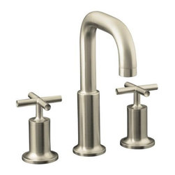 KOHLER - KOHLER K-T14428-3-BN Purist Bath- or Deck-Mount High-Flow Bath Faucet Trim with - KOHLER K-T14428-3-BN Purist Bath- or Deck-Mount High-Flow Bath Faucet Trim with Cross Handles in Brushed NickelPurist faucets and accessories combine simple, architectural forms with sensual design lines and careful detailing. Both sculptural and functional, this Purist bath- or deck-mount filler trim promises inviting visual appeal and an honest interpretation of classic modernity, and features two cross handles.KOHLER K-T14428-3-BN Purist Bath- or Deck-Mount High-Flow Bath Faucet Trim with Cross Handles in Brushed Nickel, Features:• Two-handle bath faucet trim