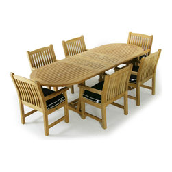 Westminster Teak Furniture - Montserrat 7pc Oval Teak Extendable Dining Set - 7pc Premium Teak Dining Set comes complete with teak oval extension table and 6 Veranda Dining Chairs with Arms.  Accommodates optional umbrella while extended or unextended.  Lifetime Warranty.  Premium Teak Furniture.