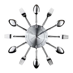 Modway - Fork and Spoon Wall Clock in Silver - Capture the moment in bite-sized portions with this retro modern commentary on consumption. Interspersed silver-toned shimmering forks and spoons feed the senses with periodic servings of light while a sleek clock face apportions the measurements. Bring culinary expressionism to your kitchen in an eccentric exhibition of contemporary decor.