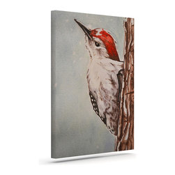 """Kess InHouse - Brittany Guarino """"Downy Woodpecker"""" Wrapped Art Canvas (24"""" x 20"""") - Bring your outdoor patio to life with this artistic outdoor canvas wrap featuring gorgeous artwork by KESS InHouse. These canvases are not only easy to hang and remove but also are the perfect addition to your patio collection. These canvases are stretched around a wooden frame and are built to withstand the elements and still look artistically fabulous. Decorating your patio and walls with these prints will add the splash of art and color that is needed to bring your patio collection together! With so many size options and artwork to choose from, there is no way to go wrong with these KESS Canvas Wraps!"""