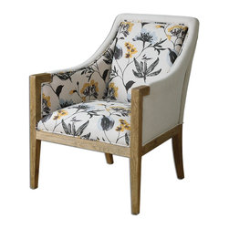 "Uttermost - Uttermost Floral Curran Armchair 23134 - A neutral linen background with modern botanical artwork in an adaptable color palette hinting at dandelion's gold petals and silvery seed puffs. Hardwood construction with exposed, solid oak accents. Seat height is 20""."
