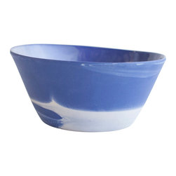 Haand - Cloudware Bowl, Blue and White Swirl, Medium - Inspired equally by historic Wedgwood Jasperware and the sky in North Carolina. Each bowl is unique, reflecting the swirling of the two colored slips mixing in the mold. We glaze the inside and then polish the unglazed outside of each piece by hand with a diamond pad.