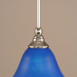 Toltec Lighting - Chrome Stem Mini Pendant with Blue Italian Glass - - 7-Inch Blue Italian Glass  - Bulbs not included  - Comes with 1-6-Inch, 2-12-Inch, and 1-18-Inch stem sections  - Comes with a hang straight swivel Toltec Lighting - 23-CH-4155