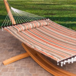13 ft. Classic Quilted Hammock with Cypress Arc Stand - Give yourself the gift of comfort by spending your cool summer nights lounging in the Classic Quilted Hammock with Cypress Arc Stand. This quilted hammock is made of durable, weather-resistant outdoor fabric and is available in your choice of sophisticated striped patterns. A matching pillow ups the comfort level, and buttons right to the hammock so it won't blow away. Two people can relax together, as this set has a weight capacity of 500 lbs. Constructed from 4-ply Hampton Cypress wood, the included stand is not only attractive but extremely durable, too. All necessary hanging hardware is included with the hammock.