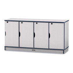 Jonti-Craft - Rainbow Accents 4 Sections Single Stacking Lockers in Navy - Different locks and keys for secured lockers.