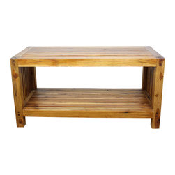 Kammika - Farmed Teak Slat Coffee Table w Shelf 36 x 16 x 18 in H w EcoFriendly Walnut Oil - This handsome Farmed Teak Sustainable Wood Slat Coffee Table with Shelf 36 inch Length x 16 inch Depth x 18 inch Height with Eco Friendly, Natural Food-safe Livos Walnut Oil Finish has an appealing rough-hewn look that lends a sense of comfort to any setting. Created from Thai farmed Teak wood, its slatted sides and top add a rustic touch to a very sophisticated piece of furniture. A very useable shelf makes this a multifunctional piece of art. This versatile functional art piece can be used indoors or outdoors; it can be used as a bench with shoe storage in the entry way or as a service table outdoors. You can use these hand crafted wood doweled pieces to set up an indoor or outdoor shower or bathing area. Hand rubbed in natural Livos Walnut oil that is polished to a matte highly water resistant and food-safe finish. Color ranges from medium to dark Walnut brown tones that will darken as the wood ages. These natural oils are translucent so the wood grain detail is highlighted. There is no oily feel and cannot bleed into carpets. All of these products are hand crafted from a sustainable Thai Farmed Teak wood species from the Thai Royal Forestry Department. We make minimal use of electric hand sanders in the finishing process. All products are dried in solar kilns and/or propane kilns. No chemicals are used in the process, ever. After each piece is carved, kiln dried, sanded, and hand rubbed with eco friendly Livos Walnut oil, they are packaged with cartons from recycled cardboard with no plastic or other fillers. As this is a natural product, the color and grain of your item will be unique, and may include small checks or cracks that occur when the wood is dried. Sizes are approximate. Products could have visible marks from tools used, patches from small repairs, knot holes, natural inclusions, and/or worm holes. There may be various separations or cracks on your piece when it arrives. There may be some slight variation in size, color, texture, and finish color.Only listed product included.
