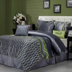 None - Sandra Venditti Bourdon 7-piece Comforter Set - Add some style to your bedroom decor with this Sandra Venditti Bourdon comforter set,in stylish and trendy colors and elegant silk with flocking. The set includes accent pillows that enhance the colors and beauty of the comforter.