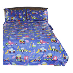 Bedding Web Store - Boys Comforter Set - Adam - Kids Style - Boys Comforter Set - Diggers and Movers Blue - Kids Style