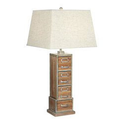 Pacific Coast Lighting - Pacific Coast Lighting 87-6999-9C Vintage Library Table Lamp - Weathered Woodland Finish