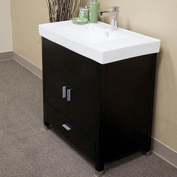 Bellaterra Home - Visconti Single-sink Bathroom Vanity - Satisfy your home design needs with this sleek espresso finished vanity offering a contemporary design and traditional features. The simple wood cabinet of this vanity has a rich black finish with two door panels mounted with soft closing hinges.