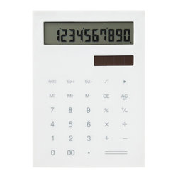 IDEA International - Slim Calculator Small - White - A minimal and slim calculator. This calculator was designed to be slim and flat so that you can carry around with notebooks or schedule books easily. It's rhythmical clicking sounds and touch will give you comfort. Also available in Large.