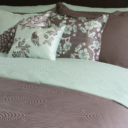 """Plush Living - Peacock Sheet Set in Silt Green - Canadian husband and wife team Kenneth and Shirley Wong met while in high school in Montreal. In 1994, they were best friends and light heartedly agreed to start a business together in the future. The idea came true 10 years later. In 2004, computer graphics and textile designer Kenneth joined forces with his now wife Shirley, a financial consultant for companies such as Molson's Brewery and Arthur Anderson, to createwhat is Plush Living today. Shirley and Kenneth now reside in Los Angeles with their 2 year old son. The Peacock collection is constructed from 400 thread count cotton sateen. the Peacock duvet and sheet set's jaquard pattern are inspired by peacock's extravagant feather pattern. Designed by: Kenneth and Shirley Wong, 2004 Features: -Includes fitted sheet, flat sheet and 2 shams. -Peacock collection. -400 thread count. -100% Cotton Sateen. -Machine washable. -Available in king and queen sizes. Specifications: -Queen sham dimensions: 30"""" W x 20"""" D . -Queen fitted sheet dimensions: 60"""" W x 80"""" D + 15"""" pocket. -Queen flat sheet dimensions: 106"""" W x 96"""" D. -King sham dimensions: 20"""" W x 40"""" D . -King fitted sheet dimensions: 78"""" W x 80"""" D + 15"""" pocket. -King flat sheet dimensions: 114"""" W x 106"""" D."""