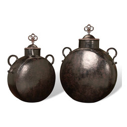 Kathy Kuo Home - Set of 2 Mathura Rustic Hammered Iron Decorative Floor Urns - What better way to add enchantment to your home than a beguiling set of decorative urns? Iron in a rich mahogany finish with exquisitely detailed handles and ornamental accents on the lid make these urns appear as if plucked straight from your wandering fantasies. Perfect for a globally inspired home, or even modern spaces with exotic touches.