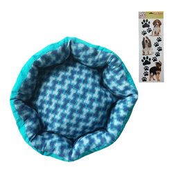 Store51 LLC - Blue Pet Bed Sticker Set 20x20 Dog Bones Puppy Floor Pillow - Features: