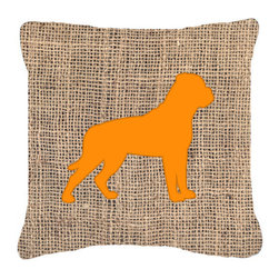 Caroline's Treasures - Rottweiler Burlap and Orange Fabric Decorative Pillow Bb1083 - Indoor or Outdoor Pillow from heavyweight Canvas. Has the feel of Sunbrella Fabric. 18 inch x 18 inch 100% Polyester Fabric pillow Sham with pillow form. This pillow is made from our new canvas type fabric can be used Indoor or outdoor. Fade resistant, stain resistant and Machine washable..