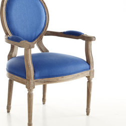 Louis XVI End Chair, Royal Blue - Such a beautiful shade of blue and bleached wood would mix well with natural wood tones and painted furniture.