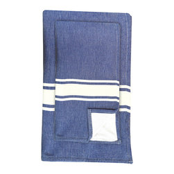BrandWave - Hand Fouta, Denim - Combining two traditions, we took our inspiration from a combination of traditional Turkish bath sheets, and a standard Western terry bath towel. Turkish bath sheets are flat-woven and traditionally used in bathhouses. The combination of the highly absorbent fouta and the traditional Western terry makes this fouta hand towel, in colors you recognize, familiar enough for you to use on an everyday basis.