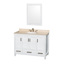 "Wyndham Collection - Sheffield 48"" White Single Vanity w/ Ivory Marble Top & Undermount Oval Sink - Distinctive styling and elegant lines come together to form a complete range of modern classics in the Sheffield Bathroom Vanity collection. Inspired by well established American standards and crafted without compromise, these vanities are designed to complement any decor, from traditional to minimalist modern. Available in multiple sizes and finishes."