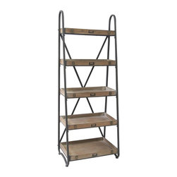 Voyager Metal and Wood Tiered Etagere - Voyager Metal and Wood Tiered Etagere