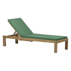 Regatta Chaise Lounge with Sunbrella® Bottle Green Cushion - Our eco-friendly Regatta teak lounge collection cuts a clean, classic profile in a bold wide-slat design. Relax in a generous four-position chaise lounge with convenient back wheels and the innovation of two pullout trays concealed beneath. Each piece is handcrafted of solid teak certified by the Forest Stewardship Council (FSC), a nonprofit organization that encourages responsible management of the world's forests. We recommend allowing the unfinished teak to weather to a silvery grey. To maintain the natural color, use our Golden Care® Teak Protector. Cushion is fade- and mildew-resistant Sunbrella acrylic in rich bottle green. Regatta dining collection also available.