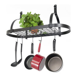 Enclume - Rack It Up Oval Ceiling Mounted Pot Rack - Dimensions: 34 x 14 x 15