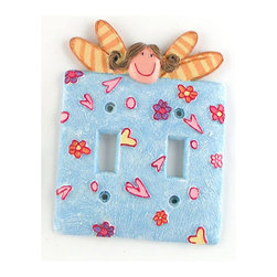 York Wallcoverings - Fairy Princesses Blue Double Toggle Lightswitch Plate - FEATURES: