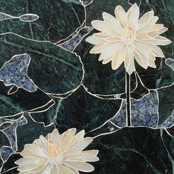 Water lotus handcrafted marble mural - Handcrafted Marble mural Water Lotus 13.50 x 20.50