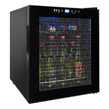 Vinotemp - Wine Varietal 15-Bottle Wine Cellar - Freestanding wine cooler. Black color. Fits 15 bottles. 17 in. W x 19 in. D x 20.38 in. H (39.68 lbs.). Butler collection. Made in USA. Custom made: 3 to 5 weeks lead time. Touch screen control panel. Adjustable feet for leveling. Displays decorative varietal names on glass doors. Front exhaust for built-in installation. Recessed handle. Interior light to illuminate bottles. Control safety lock to disable access. Digital controller with blue LED readout. Temperature range: 39 degree65 degree F. Assembly Instructions. Instruction ManualAdd a little spunk to your wine refrigerator. This clever cooler is the first refrigerator to display decorative varietal names on the glass doors, creating subtle yet fun design element to otherwise plain glass door.