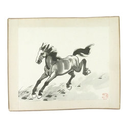 """Consigned Vintage Japanese Watercolor Stallion - Wild horses couldn't tear us away from this bold and dramatic Japanese watercolor of a majestic stallion.  Signed by the artist.  Unframed.  Bound by 1"""" fabric tape with hand-painted edges."""