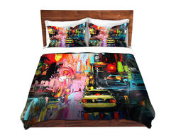 DiaNoche Designs - Duvet Cover Microfiber - Faces of the City cxvi - Super lightweight and extremely soft Premium Microfiber Duvet Cover in sizes Twin, Queen, King.  This duvet is designed to wash upon arrival for maximum softness.   Each duvet starts by looming the fabric and cutting to the size ordered.  The Image is printed and your Duvet Cover is meticulously sewn together with ties in each corner and a hidden zip closure.  All in the USA!!  Poly top with a Cotton Poly underside.  Dye Sublimation printing permanently adheres the ink to the material for long life and durability. Printed top, cream colored bottom, Machine Washable, Product may vary slightly from image.