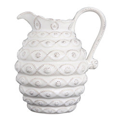 Jardins Du Monde Beehive Pitcher - Small - Whitewash - The subtle image of a bee pressed into its handle gives garden charm to this extraordinarily graceful stoneware Beehive Pitcher from the Jardins du Monde collection. An exceptional piece of designer ceramic in a high-art Whitewash glaze, the pitcher is fully garlanded with bands of three-dimensional berry and thread adornment that resists chipping during use or in the dishwasher.