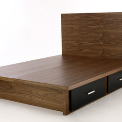 Knickerbocker Platform Bed - The Knickerbocker from Wonk NYC, shown here in Walnut with four small black lacquer drawers.
