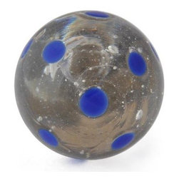 "Knobco - Polka Dotted Glass Knob, Clear knob with Blue Polka dots - Clear knob with Blue Polka dots glass knob. Unique glass knobs for your kitchen cabinets. 1.1"" in   diameter.   Includes screws for installation."