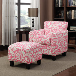 PORTFOLIO - Portfolio Park Avenue Magenta Pink Medallion Arm Chair and Ottoman - Add color and visual appeal to the room with this arm chair and ottoman set,covered in pink and white fabric. Featuring a dark espresso finish and soft polyester fill,the pair provides you will a comfortable place to relax after a stressful day.